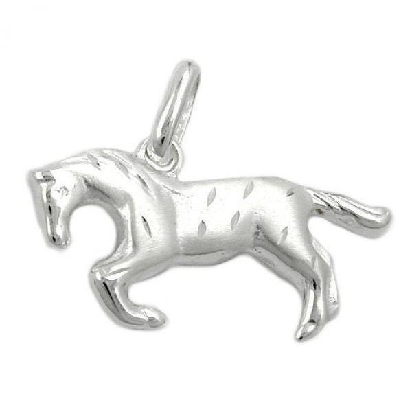 Anhänger, Pferd matt-glzd, Silber 925
