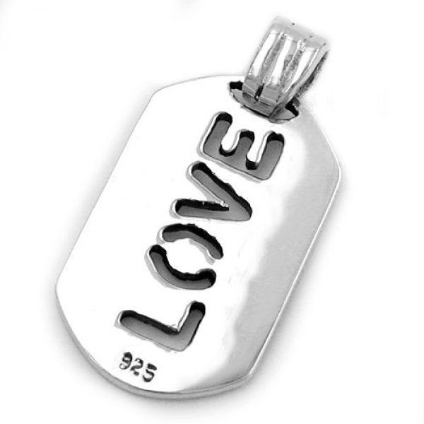 Anhänger, Platte mit LOVE, Silber 925