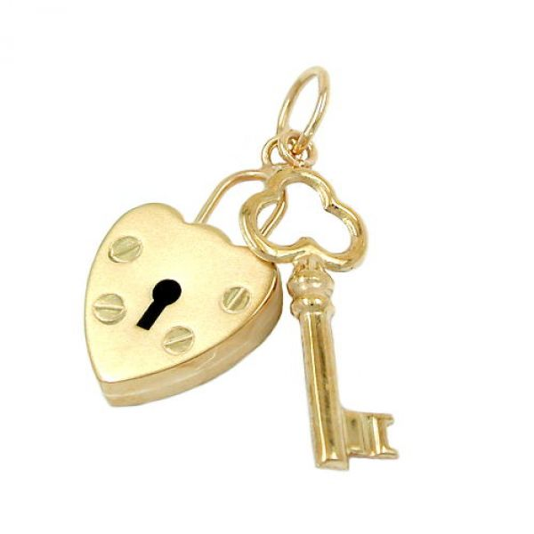 Anhänger, Schloss-Schlüssel, 9Kt GOLD