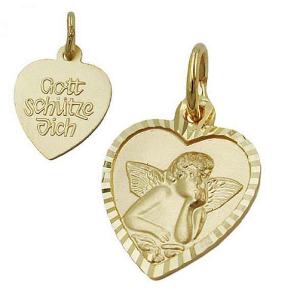Anhänger, Taufanhänger Herz, 9Kt GOLD
