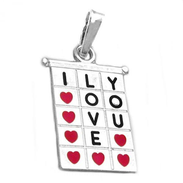 Anhänger, Viereck I-LOVE-YOU, 925
