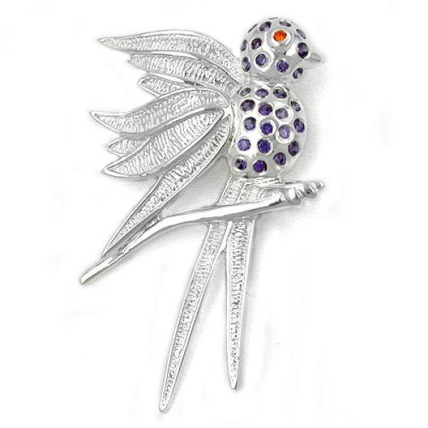 Anhänger, Vogel mit lila Steinen, 925