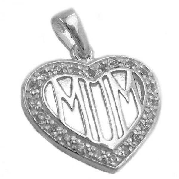 Anhänger, Zirkonia-Herz MOM, Silber 925