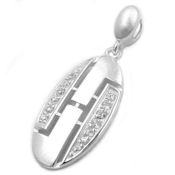 Anhänger, Zirkonia-weiß matt-Silber 925