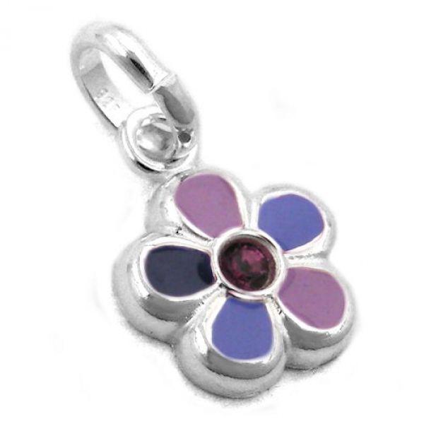 Anhänger Blume lila lackiert, Silber 925