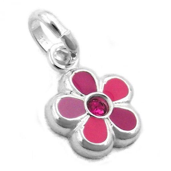 Anhänger Blume pink lackiert, Silber 925