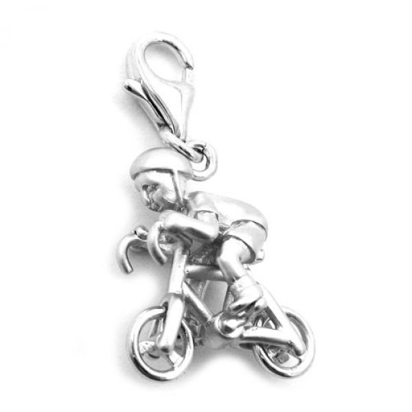 Anhänger Charm Fahrradfahrer, Silber 925