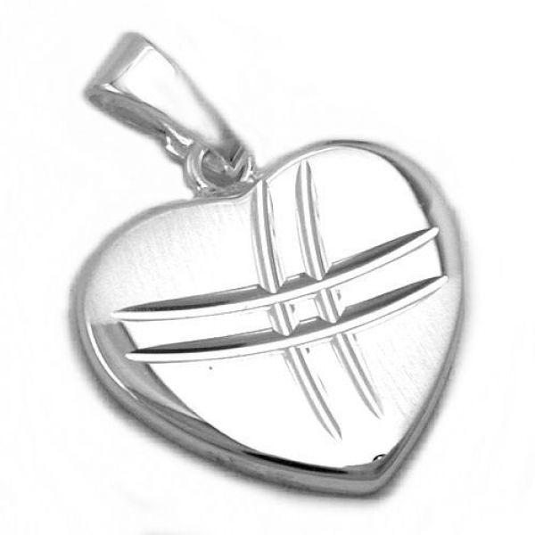 Anhänger Herz matt/glänzend Silber 925