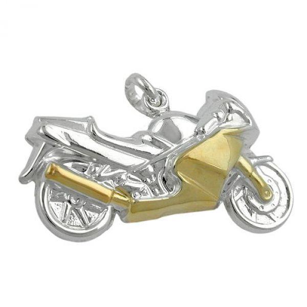 Anhänger Motorrad bicolor, Silber 925