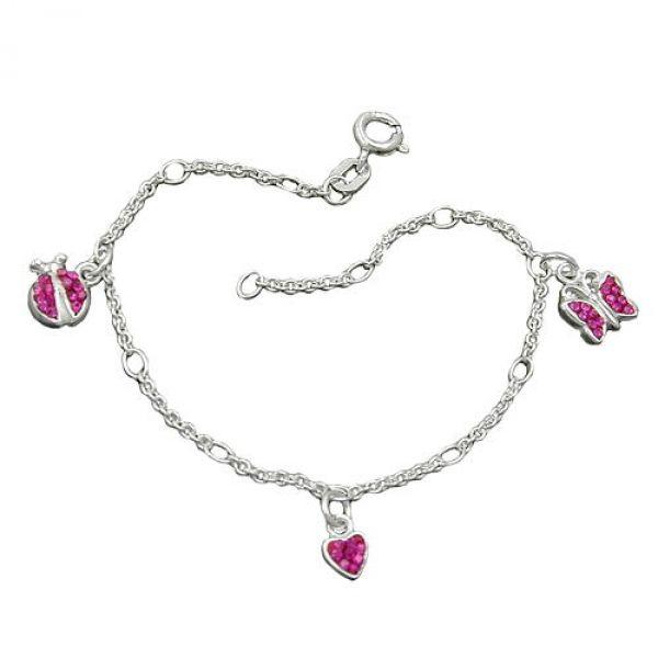 Armband, Herz/Schmetterling, Silber 925 16cm