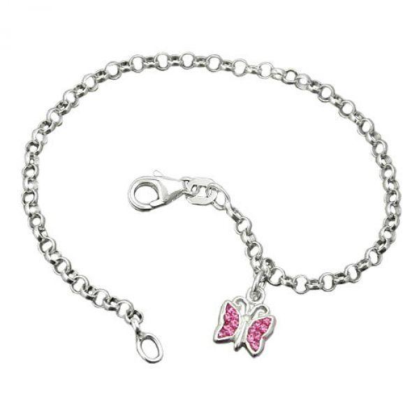 Armband, Schmetterling pink, Silber 925 16cm