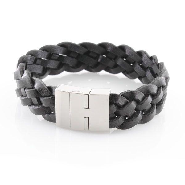 Armband Echt Leder schwarz 23cm - Edelstahl