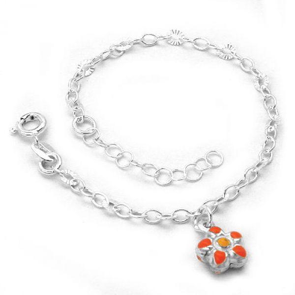 Armband Fantasie Anker Blume Silber 925 14cm
