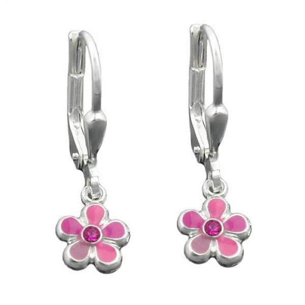Brisur, Blume pink-lackiert Silber 925