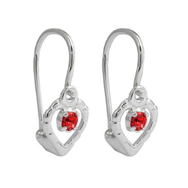 Brisur, Herz Glasstein rot, Silber 925