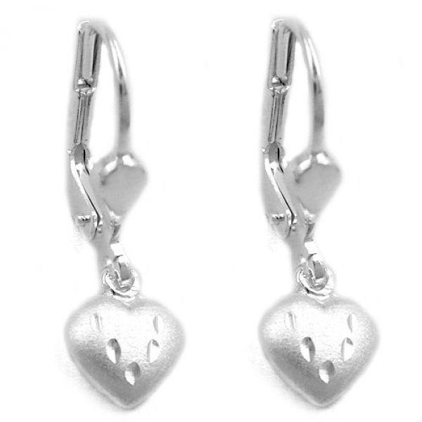 Brisur, Herz matt-diamantiert Silber 925