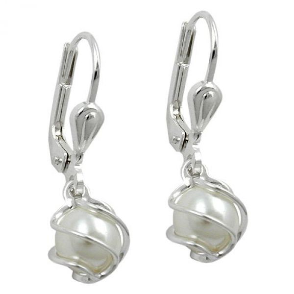 Brisur, Perle Imitat-weiß, Silber 925