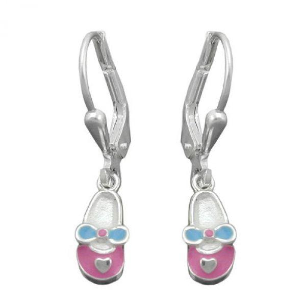 Brisur, Schuh rosa-hellblau, Silber 925