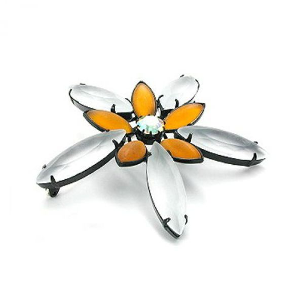 Brosche, Blüte topas krist-matt schwarz
