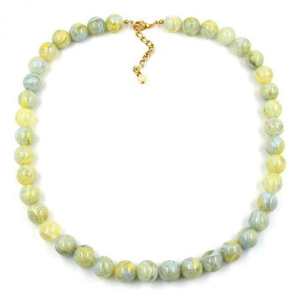 Collier, 12mm Perlen, türkis-grün-gelb 55cm