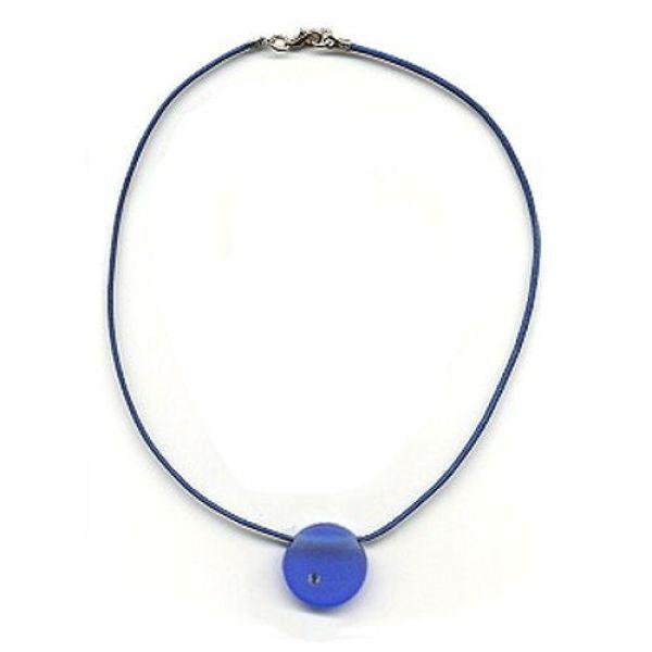 Collier, Anhänger rund, blau-matt 38cm