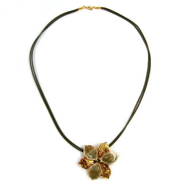 Collier, Blume, oliv-gold, Email 50cm