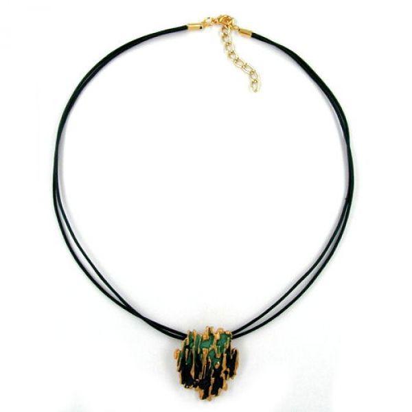 Collier, Borke, grün-matt-gold, Email 42cm
