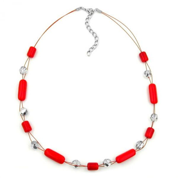 Collier, Draht mit Glasperle rot 45cm