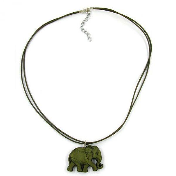 Collier, Elefant, olivton-matt 50cm