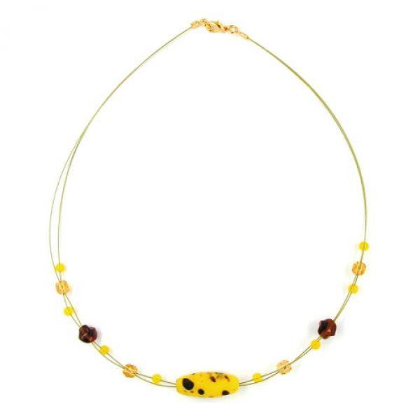 Collier, Glas, Olive gelb-braun-mt, go 42cm