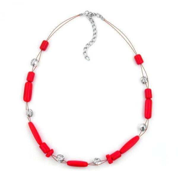 Collier, Glas, rot, silber-verspiegelt 42cm