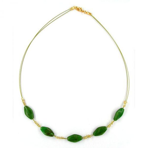 Collier, Glas grün-marmoriert Flitter 42cm