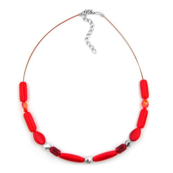 Collier, Glasperle rot-geflammt, Draht 42cm