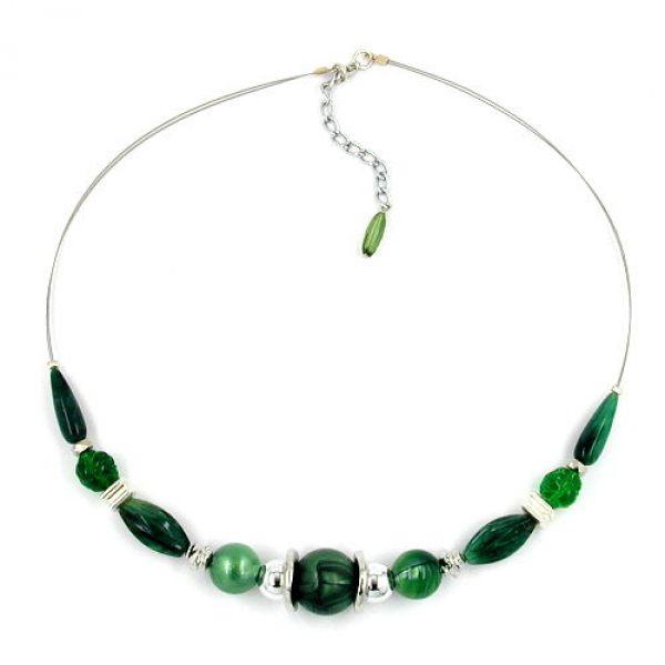 Collier, grün seidig-glänzend, Draht 50cm
