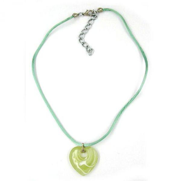 Collier, Herz mit Loch, grün-weiß 40cm