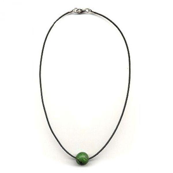 Collier, Jeansperle grün, Kordel grün 40cm