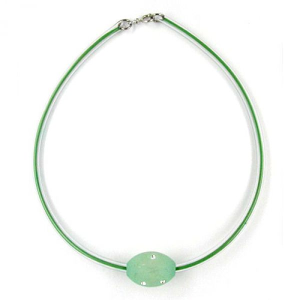Collier, Olive mint-kristall, Schlauch 42cm