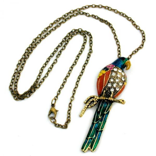 Collier, Papagei, farbig lackiert 70cm