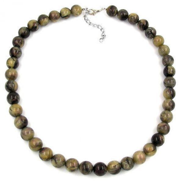 Collier, Perlen 12mm oliv-schwarz-marmor 75cm