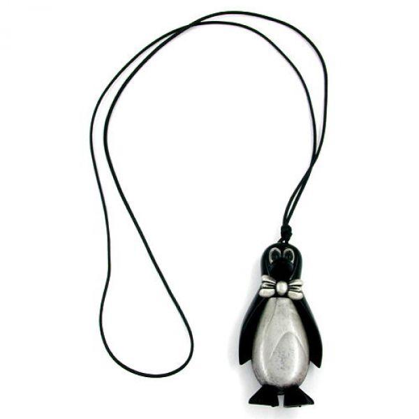 Collier, Pinguin schwarz-silbergrau 90cm