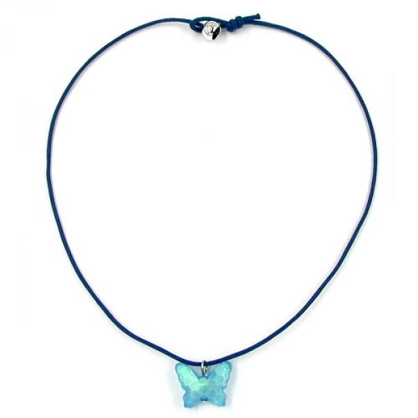 Collier, Schmetterling Schliff, blau 42cm