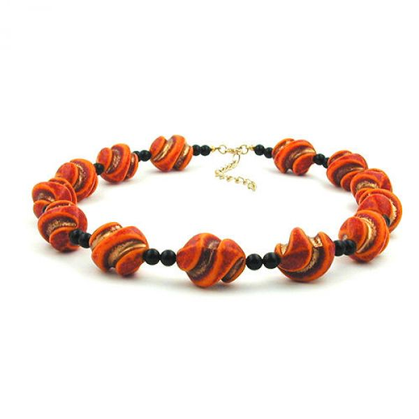 Collier, Schraubenperle rot-orange 50cm