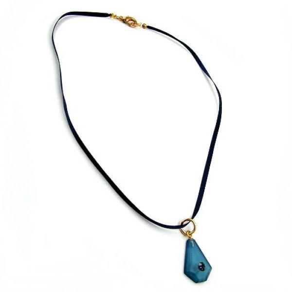 Collier, Seidenband mit Anhänger, blau 42cm