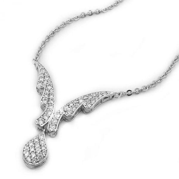 Collier, Tropfen, rhodiniert, Silber 925 43cm