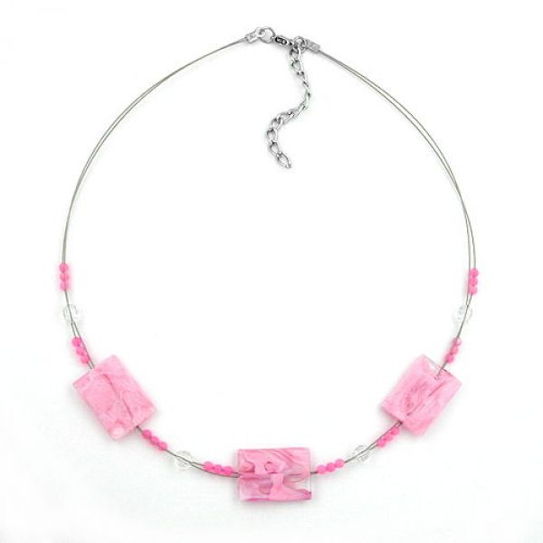 Collier, Viereck gewellt rosa-marmoriert 45cm