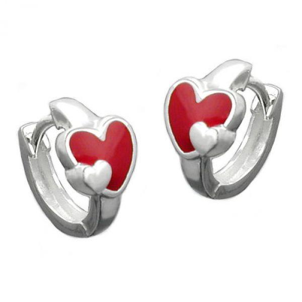 Creole, mit Herz rot-farbig Silber 925