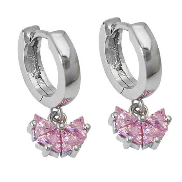 Creole, Zirkonia pink, Silber 925