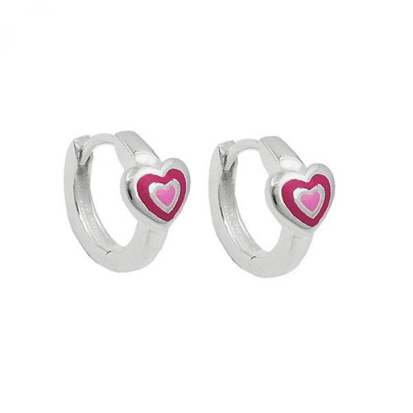 Creole, Herz zweifarbig pink-lackiert, Silber 925