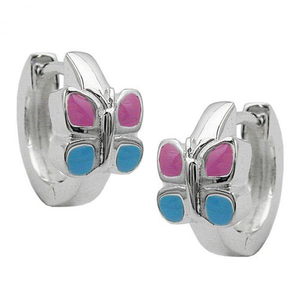 Creole Schmetterling pinkblau Silber 925