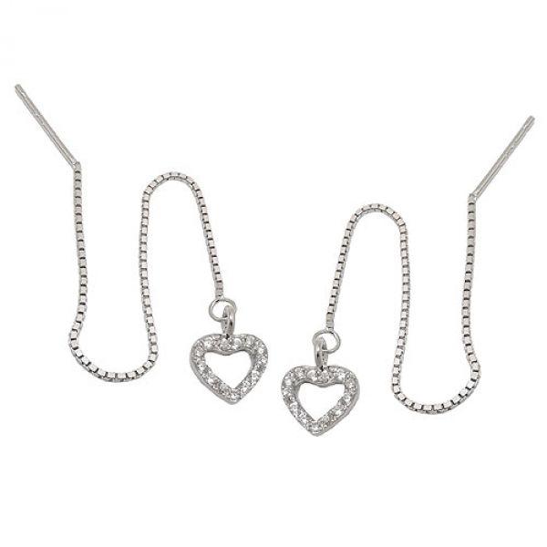 Durchzieher Herz, Zirkonias, Silber 925
